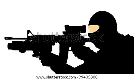 soldier with a gun on a white background