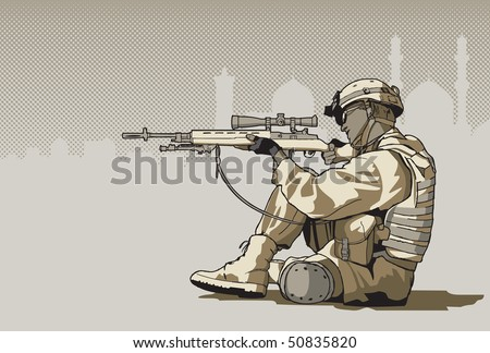 Soldier with a rifle - stock vector