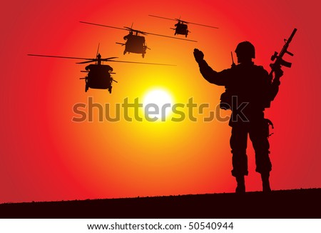 Soldier with helicopters on the background - stock vector
