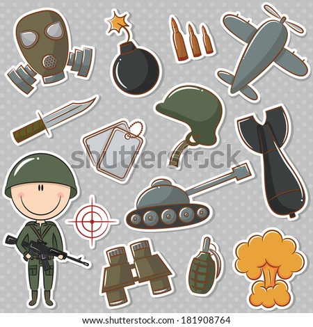 Soldier with military things - stock vector