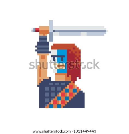 Soldier with sword country scotland pixel art sticker design isolated vector illustration