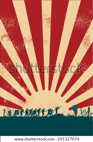 Soldiers at war silhouette - stock vector