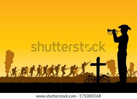 Soldiers at war,vector - stock vector