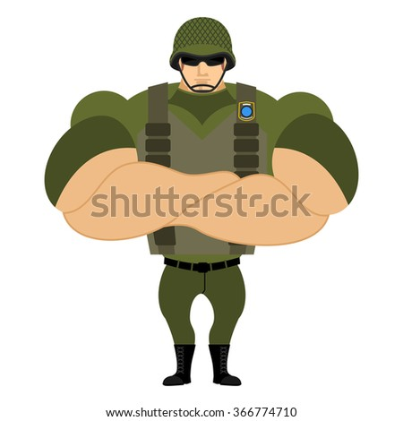 Soldiers in flak vest. Military helmet. Powerful soldiers in protective clothing. Strong army man. Veteran of war. Serious and heavy Infantryman. - stock vector