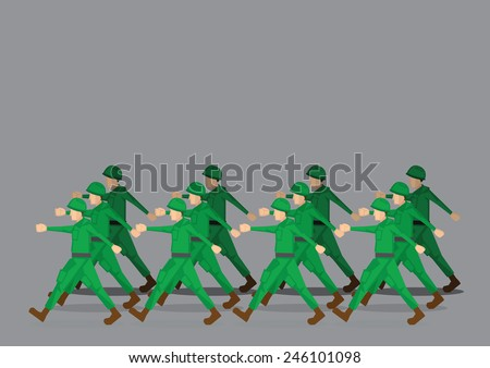 Soldiers in green uniform marching past in military parade. Vector illustration isolated on grey background - stock vector