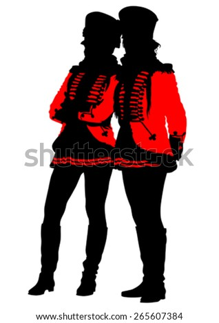 Soldiers in historic uniforms on a white background - stock vector