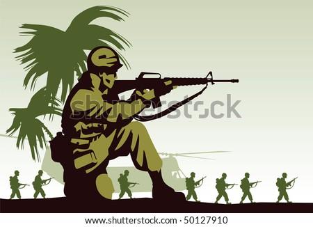 Soldiers in Vietnam - stock vector