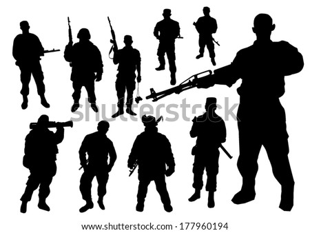 Soldiers silhouette - stock vector