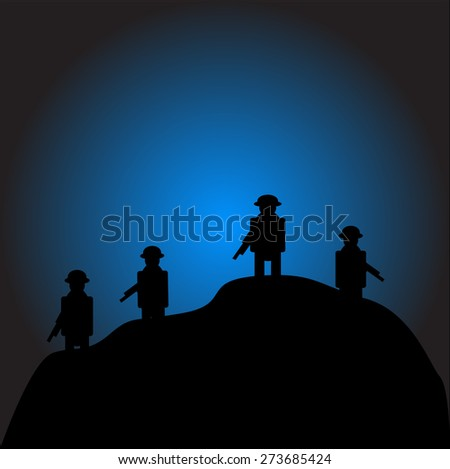Soldiers silhouettes against a night vector image - stock vector