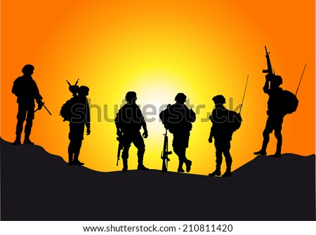 Soldiers silhouettes against a sunset vector collection. - stock vector