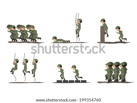 Soldiers Training - Isolated On White Background - Vector Illustration, Graphic Design Editable For Your Design  - stock vector