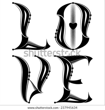 Solid Black Ink LOVE Tattoo - stock vector