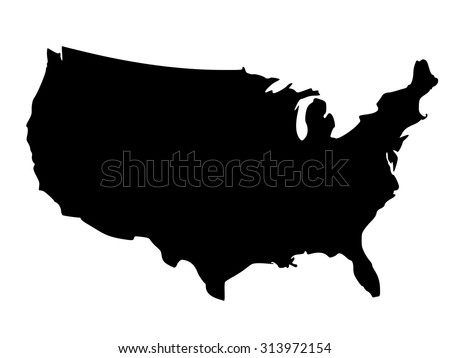 Solid black silhouette map of United States of America without Alaska and islands, vector illustration - stock vector