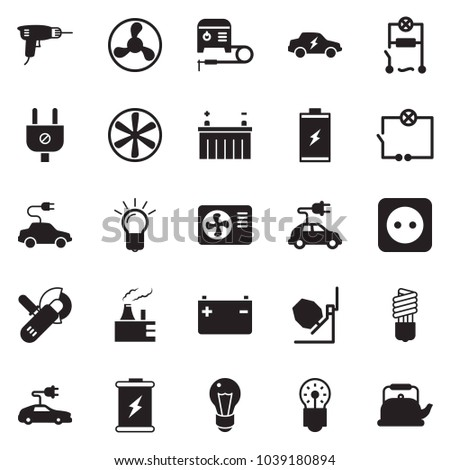 Solid black vector icon set - bulb vector, drill, wiring, concrete mixer, angle grinder machine, air condition, welding, fan, battery, thermal power plant, plug, socket, electric car, kettle