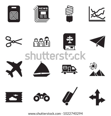 Solid black vector icon set - identity vector, newspaper, bulb, line chart, scissors, team, law, paper plane, sail boat, camper, pyramid, ticket, binoculars, wheel suitcase, route