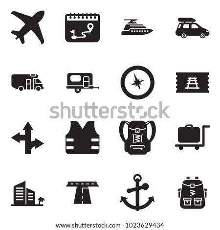 Solid black vector icon set - plane vector, calendar route, yacht, car baggage, camper, camp trailer, compass, train ticket, life vest, backpack, luggage trolley, hotel, road, anchor, bag pack