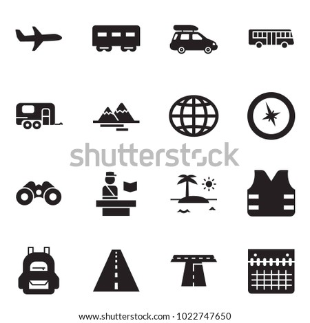 Solid black vector icon set - plane vector, passenger wagon, car baggage, bus, camp trailer, mountains, globe, compass, binoculars, passport control, island, life vest, backpack, road