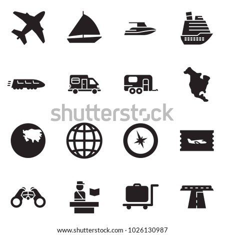 Solid black vector icon set - plane vector, sail boat, yacht, cruiser, train, camper, camp trailer, north america, asia, globe, compass, ticket, binoculars, passport control, luggage trolley, road