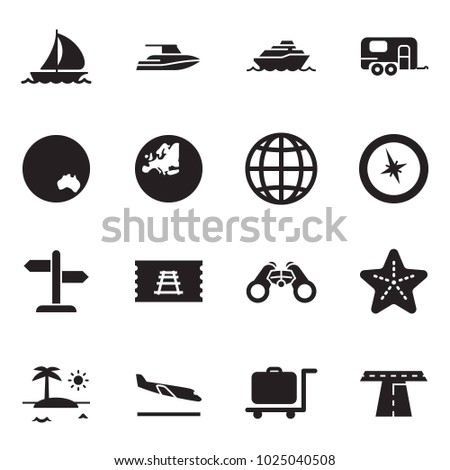 Solid black vector icon set - sail boat vector, yacht, cruiser, camp trailer, australia, europe, globe, compass, signpost, train ticket, binoculars, starfish, island, arrival, luggage trolley, road