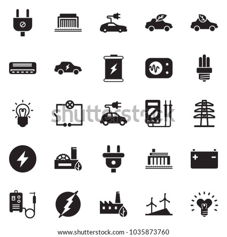 Solid black vector icon set - wiring vector, air condition, welding machine, battery, windmill, hydro power plant, line pillar, plug, eco factory, bulb, car, electric, measurement, heart