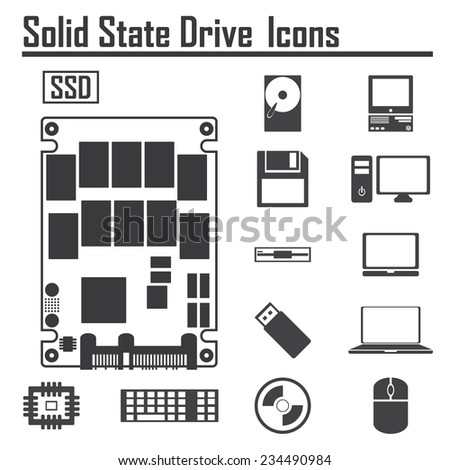 Solid State Drive, SSD and Computer Icons  - stock vector
