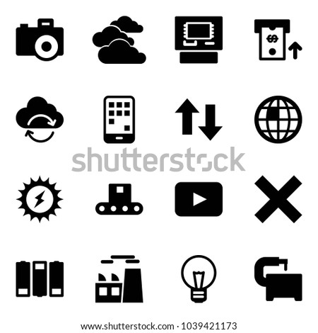Solid vector icon set - camera vector, clouds, atm, refresh cloud, mobile, up down arrows, globe, sun power, conveyor, playback, delete, battery, plant, bulb, machine tool