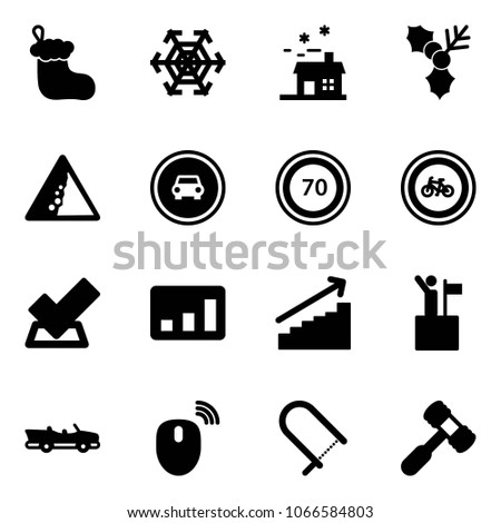 Solid Vector Icon Set Christmas Sock Stock Vector 1066584803