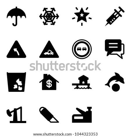 Solid Vector Icon Set Insurance Vector Stock Vector 1044323353