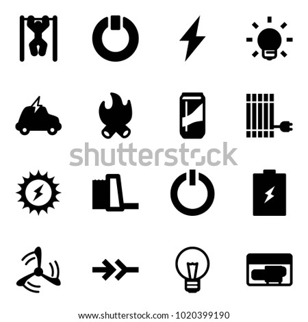 Solid vector icon set - pull ups vector, standby, lightning, bulb, electric car, fire, drink, sun panel, power, water plant, button, battery, wind mill, connect, generator