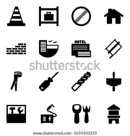Solid Vector Icon Set Road Cone Stock Vector 1059103259