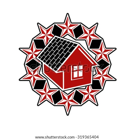 Solidarity idea vector icon, simple house surrounded with festive stars. Stylized design element, union theme. - stock vector
