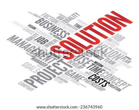 SOLUTION business concept in word tag cloud, vector background - stock vector