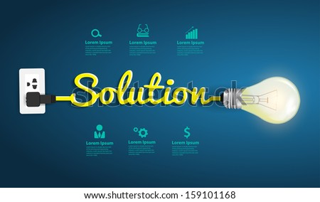 Solution concept modern design template, Creative light bulb idea abstract infographic workflow layout, diagram, step up options, Vector illustration - stock vector