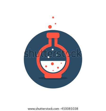 solution icon with red lab bottle. concept of acid, potion, alchemy, innovation, toxic bubbles, beaker, tool. flat style trend modern company logotype design vector illustration on white background - stock vector