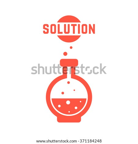 solution with red lab bottle. concept of creativity, material synthesis, process, assay, toxic, chemist, industry. isolated on white background. flat style trend modern logo design vector illustration - stock vector