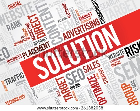 SOLUTION word cloud, business concept - stock vector