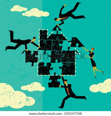 Solving Home Mortgage Problems Business people putting the puzzle pieces together to find a solution to home mortgage problems. The people and house is on a separate labeled layer from the background. - stock vector