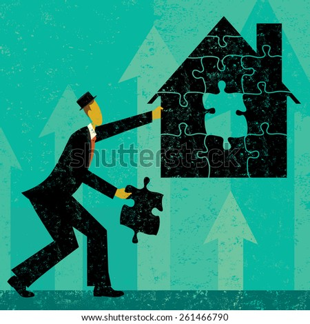 Solving Home Mortgage ProblemsBusinessman putting the puzzle pieces together to find a solution to home mortgage problems. The man and house is on a separate labeled layer from the background. - stock vector