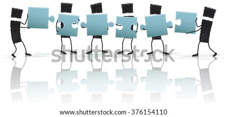 Solving the puzzle together. Illustration of a group of stick figures holding puzzle pieces. Working together, they achieve success. EPS10 file. - stock vector
