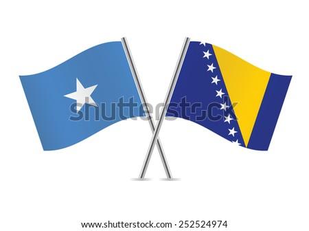 Somalia and Bosnia and Herzegovina flags. Vector illustration.  - stock vector