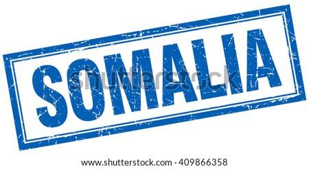 Somalia blue square grunge stamp on white - stock vector
