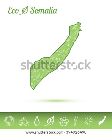 Somalia eco map filled with green pattern. Green Somalia eco map with ecology concept design elements. Vector illustration of Somalia eco map. - stock vector