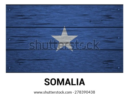 Somalia flag on wood texture background - vector illustration - stock vector