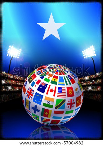 Somalia Flag with Globe on Stadium Background Original Illustration