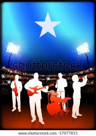 Somalia Flag with Live Music Band on Stadium Background Original Illustration - stock vector