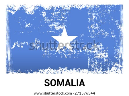 Somalia grunge flag isolated vector in official colors and Proportion Correctly. country's name label in bottom - stock vector