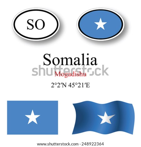 somalia icons set against white background, abstract vector art illustration, image contains transparency - stock vector