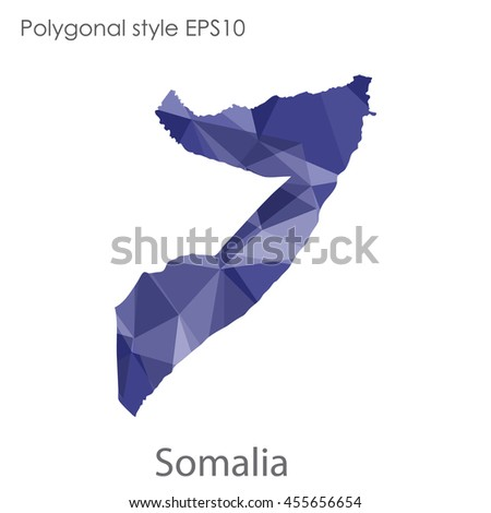 Somalia map in geometric polygonal style.Abstract gems triangle,modern design background.Vector Illustration EPS10.