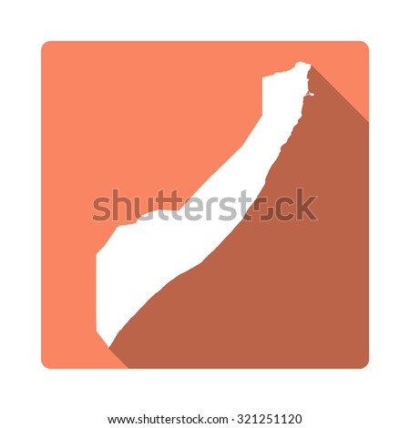 Somalia map: modern flat icon with long shadow. Vector icon map of Somalia on orange background. Flat style country map - stock vector