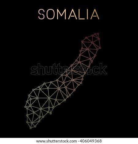 Somalia network map. Abstract polygonal Somalia network map design. Map of Somalia network connections. Vector illustration. - stock vector